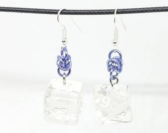 Translucent Dice Earrings - D6 and D8 Earrings - D&D Earrings - DND Earrings - DnD Dice