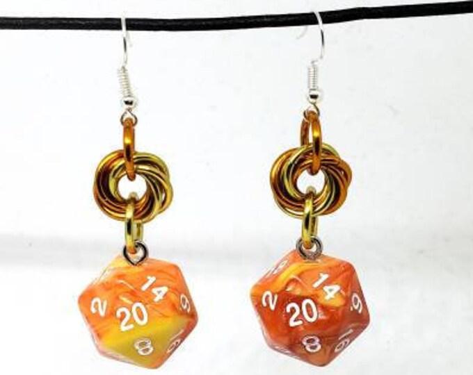 Solar Flare Swirl Nat 20 Earrings - D20 Earrings - D&D Earrings - DND Earrings - Dice Earrings