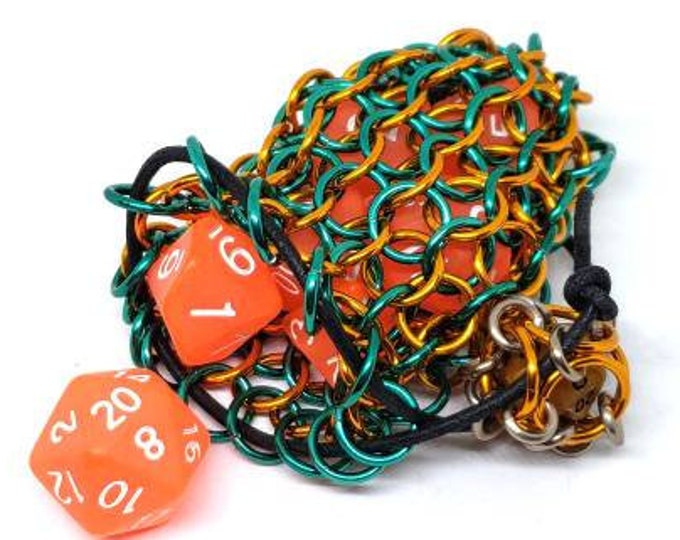 Limited Edition Color! Dark Sea Green and Orange Single Set Chainmaille Dicebag - Holds One Set of Dice -  Chainmail - Mermaid Themed