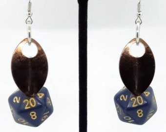 Scale of the Bronze Dragon Nat 20 Earrings - D20 Earrings - D&D Earrings - DND Earrings - DnD Dice - Dice Earrings