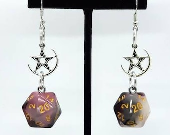 Bloodstone Jade Nat 20 Earrings - D20 Earrings - D&D Earrings - DND Earrings - DnD Dice - Dice Earrings