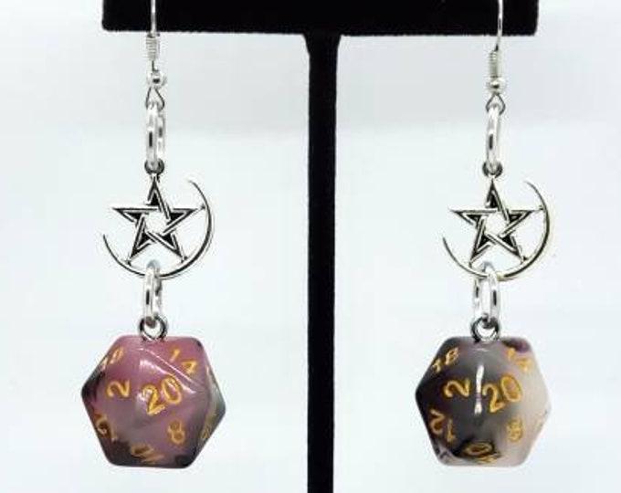 Bloodstone Jade Nat 20 Earrings - D20 Earrings - D&D Earrings - DND Earrings - DnD Dice - Dice Earrings