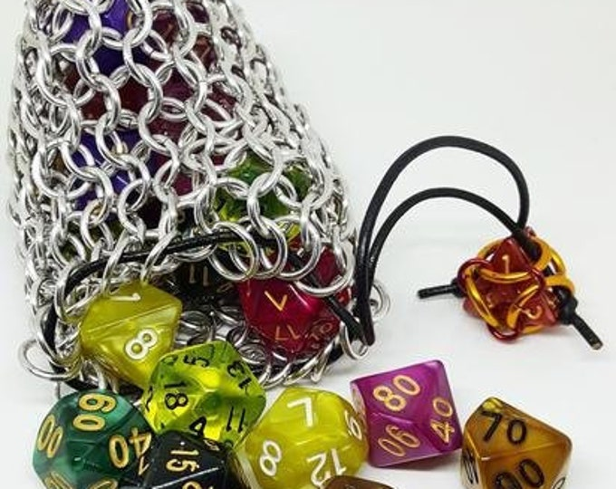 Silver Medium Chainmaille Dice Bag | Dice Pouch | Coin Purse - Chainmail