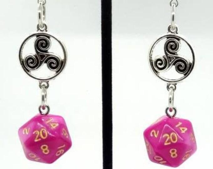 Psychic Surge Nat 20 Earrings - D20 Earrings - D&D Earrings - DND Earrings - DnD Dice - Dice Earrings