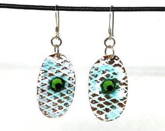 Hand Painted Mermaid Inspired Copper Earrings- One of a Kind