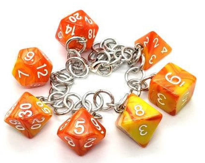 Solar Flare Swirl Polyhedral Dice Set Charm Bracelet - Dungeons and Dragons  Dice - DnD Dice - Orange and Yellow dice