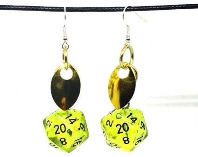 Scale of the Young Gold Dragon Nat 20 Earrings - D20 Earrings - D&D Earrings - DND Earrings - Dice Earrings