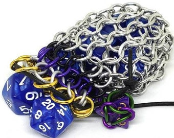 Yellow, White, Purple, and Black Nonbinary Pride Single Set Chainmaille Dice Bag - Dicebag -  Handmade - Chainmail