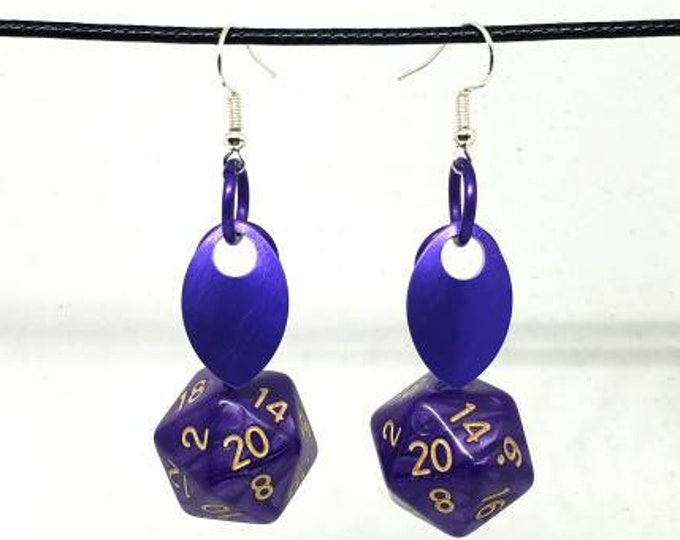 Scale of the Deep Dragon Nat 20 Earrings - D20 Earrings - D&D Earrings - DND Earrings - Dice Earrings
