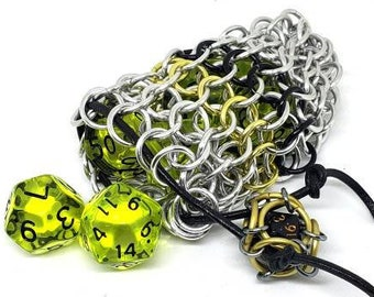 Black, Yellow, and Silver Single Set Chainmaille Dicebag - Holds One Set of Dice -  Handmade - Chainmail
