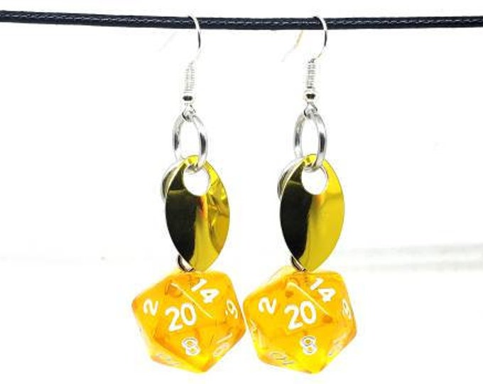 Scale of the Gold Dragon Nat 20 Earrings - D20 Earrings - D&D Earrings - DND Earrings - Dice Earrings