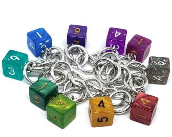Rainbow Mini D6 Charm Bracelet - Dungeons and Dragons  Dice - DnD Dice - 6 Sided Dice
