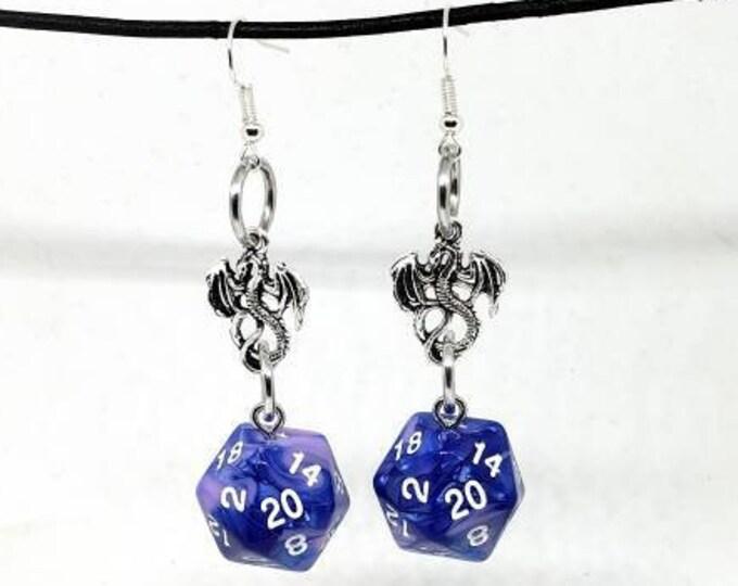 Cotton Candy Swirl Dragon Nat 20 Earrings - D20 Earrings - D&D Earrings - DND Earrings - Dice Earrings - Pink and Blue Dice