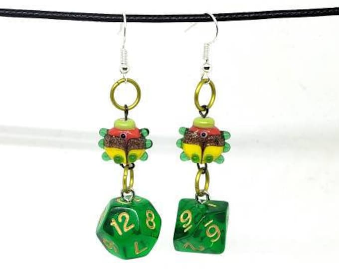 Fish Companion Mixed Set Earrings - D12 and D10 - D&D Earrings - DND Earrings - DnD Dice - Dice Earrings - Green Dice