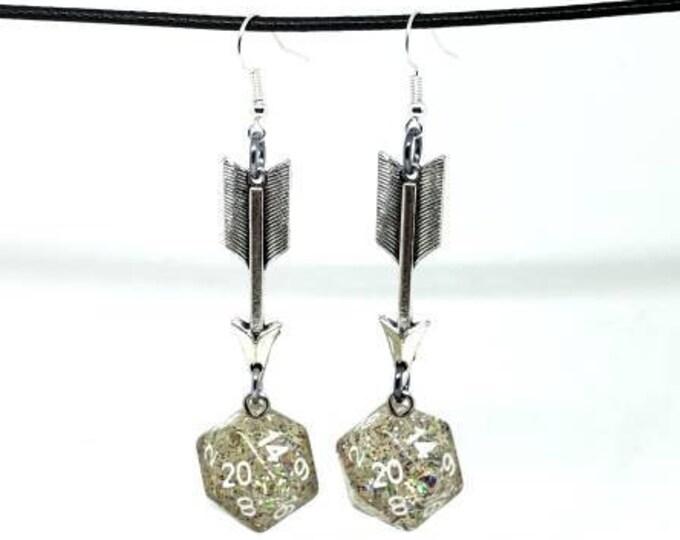 Translucent Glitter Arrow Charms Nat 20 Earrings - D20 Earrings - D&D Earrings - DND Earrings - Dice Earrings