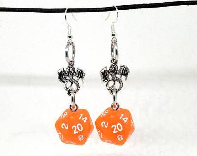 Bright Orange Dragon Nat 20 Earrings - D20 Earrings - D&D Earrings - DND Earrings - Dice Earrings - Orange Dice
