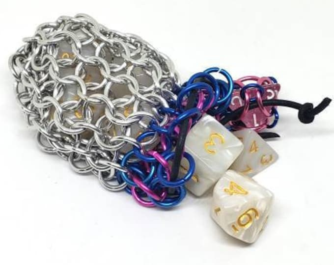 Pink and Blue Single Set Chainmaille Dice Bag - Dicebag -  Handmade - Chainmail