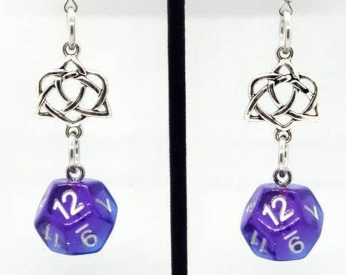 Twilight Sky Earrings D12 - D&D Earrings - DND Earrings - DnD Dice - Dice Earrings