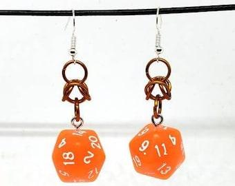 Bright Orange Nat 20 Earrings - D20 Earrings - D&D Earrings - DND Earrings - DnD Dice - Dice Earrings