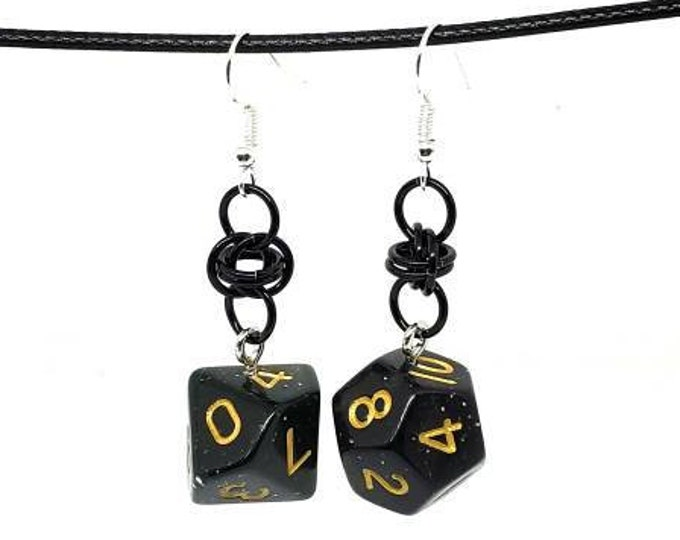 Black Glittery Dice Earrings - D10 and D12 Earrings - D&D Earrings - DND Earrings - DnD Dice
