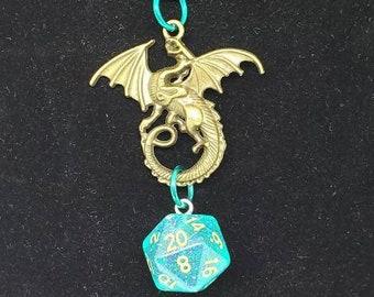Bronze Tone Dragon Ocean Green Nat 20 Pendant - Dungeons and Dragons Pendant - D&D Dice - Dice Pendant