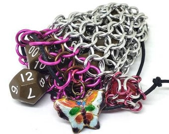 Pink, Brown, and Silver Butterfly Charm Single Set Chainmaille Dicebag - Holds One Set of Dice -  Chainmail - Butterfly Familiar