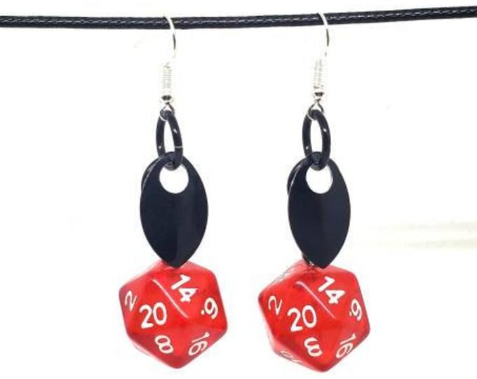Scale of the Dracolich Nat 20 Earrings - D20 Earrings - D&D Earrings - DND Earrings - Dice Earrings