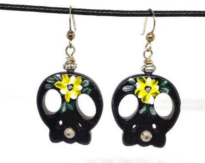 Black with Yellow Flowers One of a Kind Hand Painted Sugar Skull Earrings