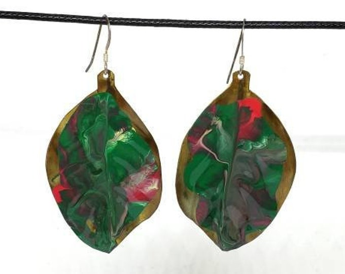 Hand Painted Red and Green Leaf Copper Earrings- One of a Kind
