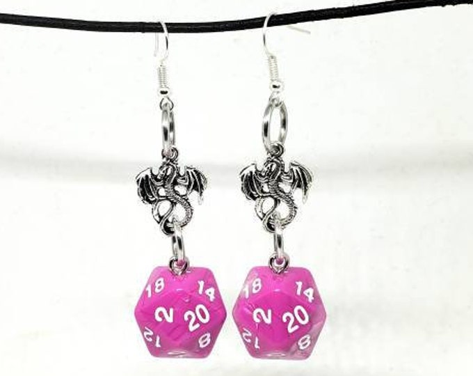 Bubblegum Swirl Dragon Nat 20 Earrings - D20 Earrings - D&D Earrings - DND Earrings - Dice Earrings - Pink and White Dice
