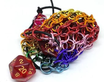 Single Set Rainbow Spiral Single Set Chainmaille Dicebag - Holds One Set of Dice -  Chainmail