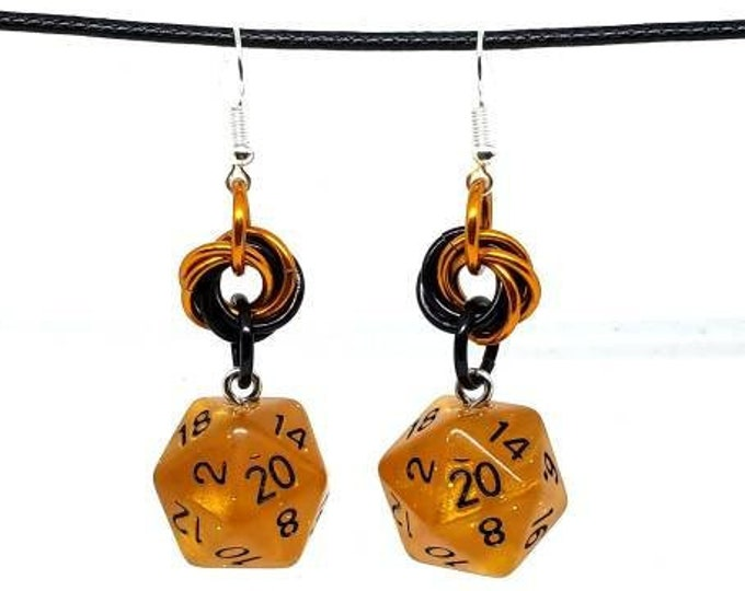 Dwarven Brandy Nat 20 Earrings - D20 Earrings - D&D Earrings - DND Earrings - Dice Earrings - Mobius Charm