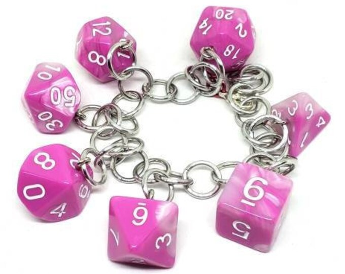Bubble Gum Swirl Polyhedral Dice Set Charm Bracelet - Dungeons and Dragons  Dice - DnD Dice