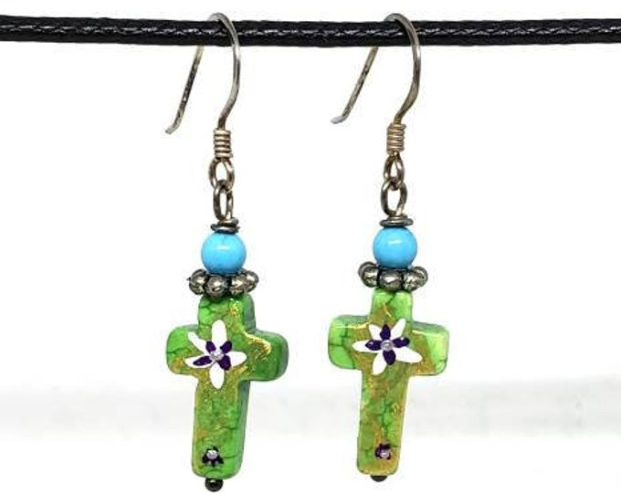 Green with White Flower One of a Kind Hand Painted Small Cross Earrings