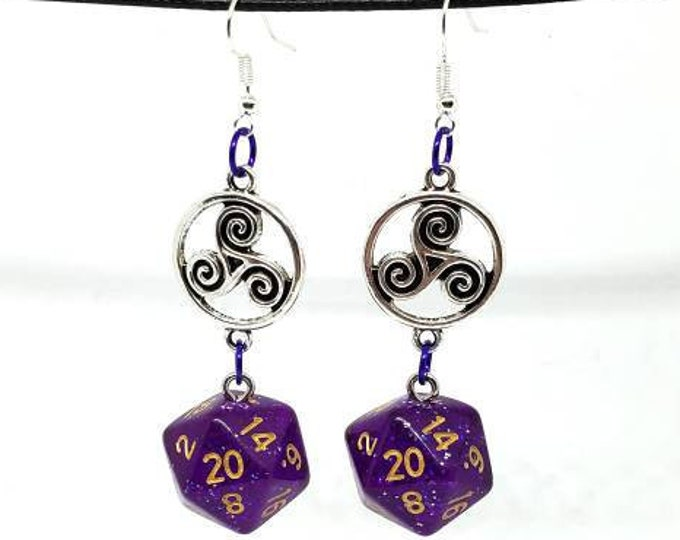 Purple Glitter Celtic Charm Nat 20 Earrings - D20 Earrings - D&D Earrings - DND Earrings - Dice Earrings