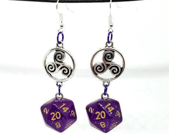 Purple Glitter Celtic Charm Nat 20 Earrings - D20 Earrings - D&D Earrings - DND Earrings - Dice Earrings