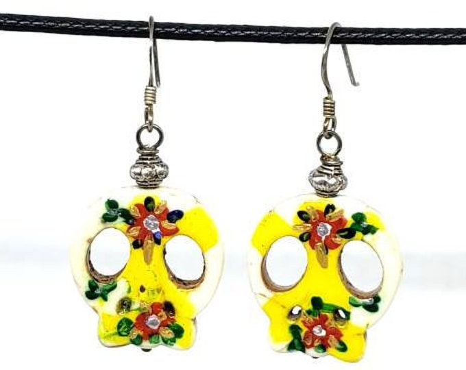 Yellow and Orange One of a Kind Hand Painted Sugar Skull Earrings