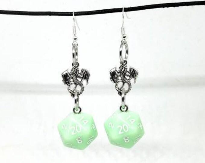 Pastel Green Dragon Nat 20 Earrings - D20 Earrings - D&D Earrings - DND Earrings - Dice Earrings - Green Dice