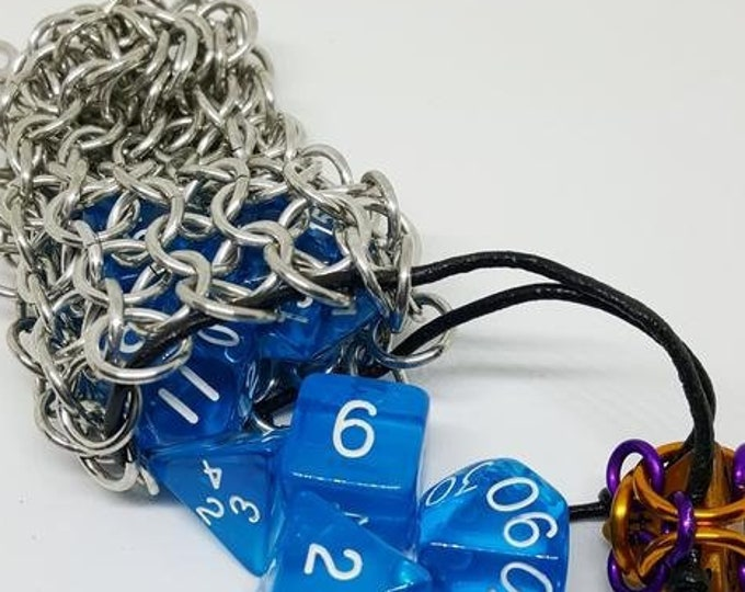 Single Set Chainmaille Dice Bag - Holds One Set of Dice - Dice Pouch -  Handmade - Chainmai