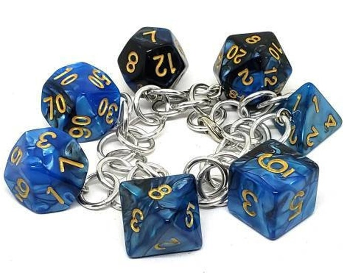 Blue and Black Swirl Polyhedral Dice Set Charm Bracelet - Dungeons and Dragons  Dice - DnD Dice
