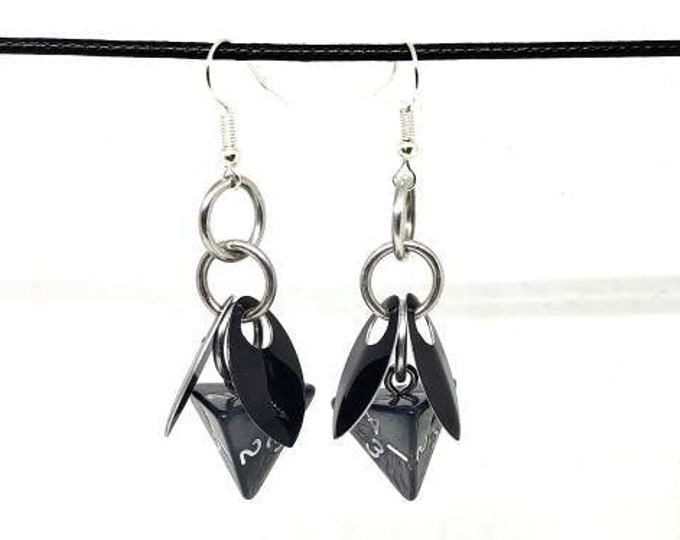 Lich Fairy D4 Earrings - D&D Earrings - DND Earrings - DnD Dice - Dice Earrings