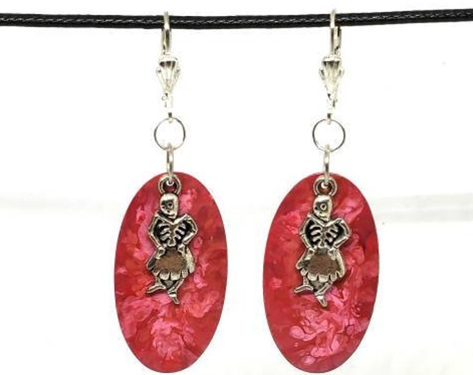 Pink Skeleton Hand Painted Copper Earrings- One of a Kind