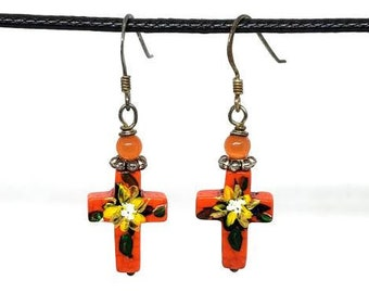 Orange One of a Kind Hand Painted Small Cross Earrings