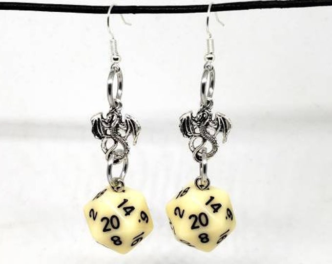 Ivory Dragon Nat 20 Earrings - D20 Earrings - D&D Earrings - DND Earrings - Dice Earrings - Off-White Dice