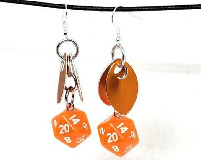 Wings of the Orange Dragonfly Nat 20 Earrings - D20 Earrings - D&D Earrings - DND Earrings - Dice Earrings