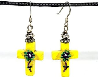 Yellow with Flowers One of a Kind Hand Painted Small Cross Earrings
