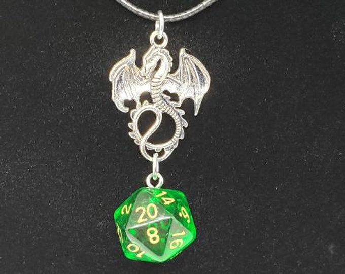 Amulet of the Forest Dragon Translucent Green Nat 20 Pendant - Dungeons and Dragons Pendant - D&D Dice - Dice Pendant