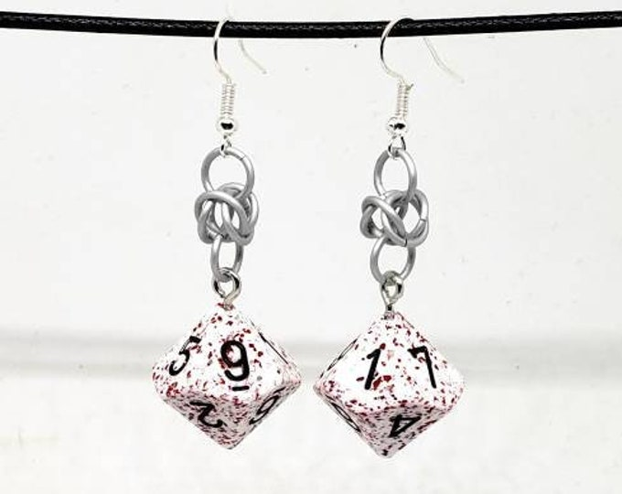 Red and White Speckled Dice Earrings - D10 Earrings - D&D Earrings - DND Earrings - Murder Hobo Earrings - DnD Dice