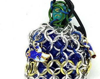 Blue and Yellow Aquatic Single Set Chainmaille Dice Bag with Fish Charms - Holds One Set of Dice - Dice Pouch -  Handmade - Chain