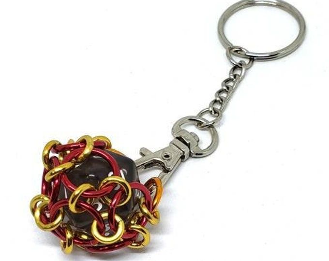 Red, Yellow  and Orange Removable 20 Sided Die Keychain - Functional - Chainmaille Keychain - D20 - Dice  Keychains